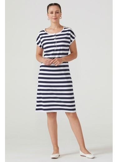Sementa Kadın Omuzu Dantel Detaylı Çizgili Elbise - Lacivert Lacivert
